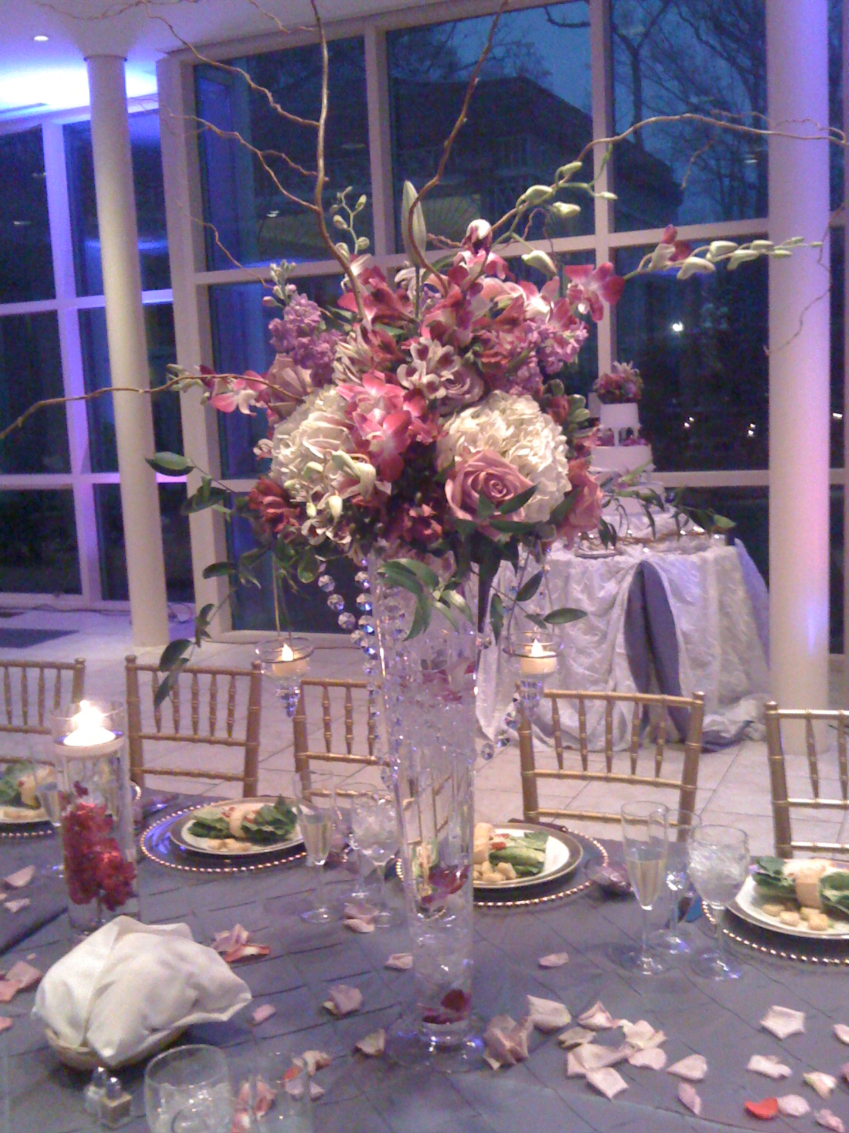 Tall Purple Pink Centerpiece With Crystals Lanterns