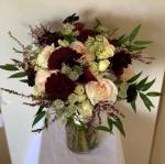 $187 - bouquet burg dahlia pink heather blush pink O'Hara rose burgundy calla chocolate cosmos white astrantia ruscus bouquet