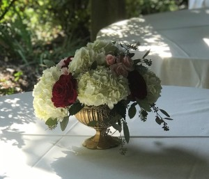$59 - reception table centerpiece with blush and burgundy